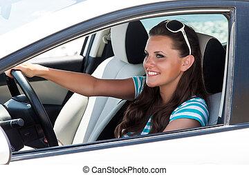 schöne , auto frau, junger, fahren