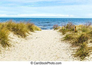 schöne , baltisch, sandstrand, meer