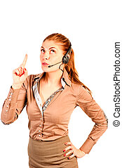 schöne, bediener, kommuniziert, Klient, m�dchen