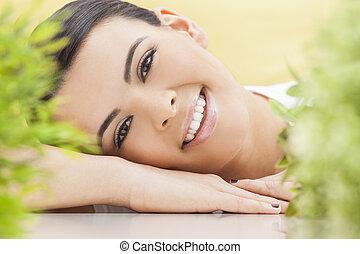 schöne , begriff, natürlich, frau, gesundheit, lächeln