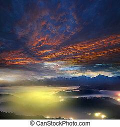 schöne , berg, sonnenaufgang