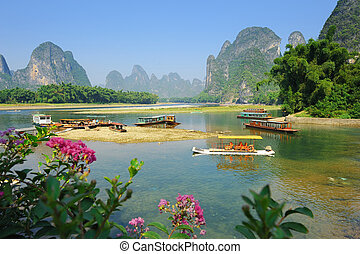 schöne , berg, yangshuo, guilin, porzellan, landschaftsbild,...