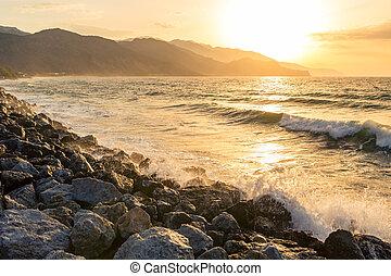 schöne , berge, inspirational, sonnenaufgang, meer, landschaftsbild