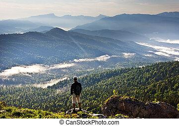 schöne , berge, landschaftsbild, und, person