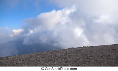 schöne , berglandschaft, mit, groß, bewölkt , sky.,...