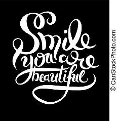 schöne , beschriftung, hand, lächeln, phrase, sie
