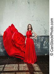 schöne , bezaubernd, dress., elegant, frau, retro, hintergrund, modell, mode, rotes