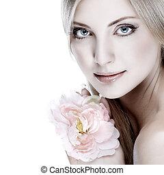 schöne , blaue augen, frau, junger, closeup, whiteheaded, hintergrund, porträt, sexy, weißes