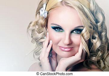 schöne , blaue augen, frauenportraets, blond