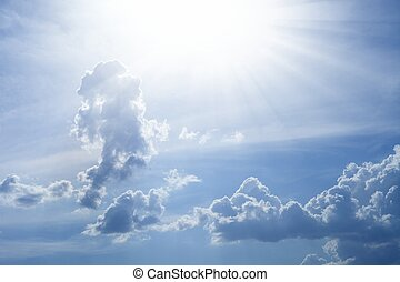 schöne , blauer himmel, mit, helle sonne