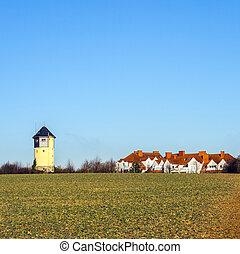schöne , blaues, altes , himmelsgewölbe, wasserturm, landschaftsbild