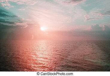 schöne , blaues, deck, segeltörn, mittelmeer, getönt, rosa, meer, schiff, sonnenaufgang, ansicht
