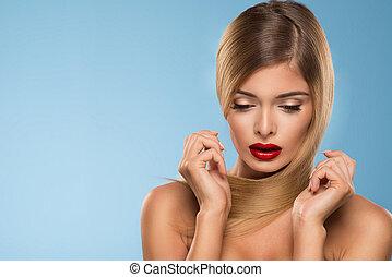 schöne , blaues, frau, aus, lippen, junger, hintergrund, porträt, sexy, rotes