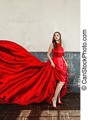 schöne , blaues, frau, elegant, dress., hintergrund, modell, mode, rotes , blasen