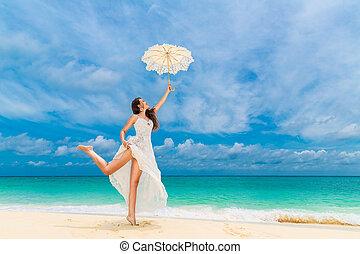 schöne , blaues, frau, schirm, reise, junger, tropische , hintergrund., strand., meer, weisses kleid, concept.