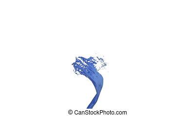 schöne , blaues, gefärbt, mögen, flüssiglkeit, hintergrund., auto, whirling., matte., freigestellt, 4., farbe, wirbel, version, alpha, weißes, wirbelwind, animation, durchsichtig, 3d