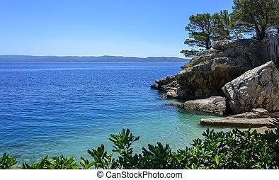 schöne , blaues, meer, sommer, sonnig, day., adriatic., sandstrand, ansicht