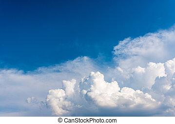 schöne , blaues, thailand, wolkenhimmel, himmelsgewölbe