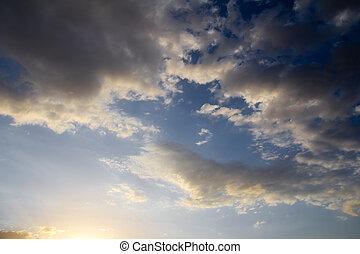 schöne , blaues, wolkenhimmel, himmelsgewölbe