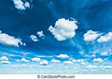 schöne , blaues, wolkenhimmel, sparce, himmelsgewölbe, kumulus, kontrast