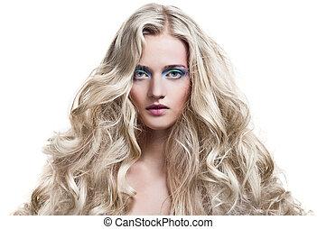 schöne , blond, girl., gesunde, langer, lockig, hair.