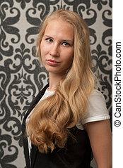 schöne , blond, m�dchen, mit, langes haar