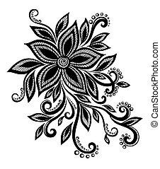 schöne , blume, spitze, element, schwarz, nachahmung, design...