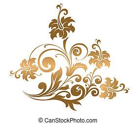 schöne , blume, verzierung, gold