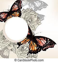schöne , blumen-, hintergrund, mit, rosen, und, vlinders