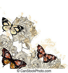 schöne , blumen-, hintergrund, mit, vlinders, und, rosen