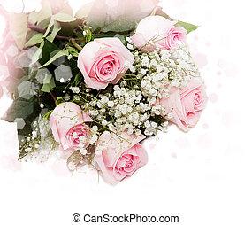 schöne , blumengebinde, von, rosafarbene rosen