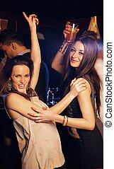 schöne , boden, tanz, hart, mädels, party