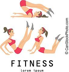 schöne , brünett, dehnen, verwandt, illustrationen, jogging, durchgeführt, übungen