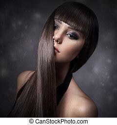 schöne , brünett, gerade, langes haar, frauenportraets