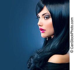 schöne , brünett, gesunde, langes haar, schwarz, woman.