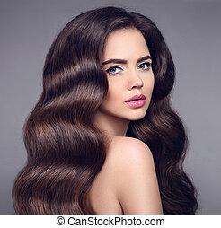 schöne , brünett, hairstyle., schoenheit, hintergrund., gesunde, product., aufmachung, shampoo, freigestellt, langer, dunkel, elegant, wellig, studio, hair., porträt, m�dchen, glänzend, modell, sorgfalt