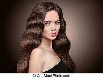 schöne , brünett, haut, makeup., hair., m�dchen, &, freigestellt, langer, hintergrund., frau, hairstyle., schoenheit, dunkel, wellig, portrait., sorgfalt, gesunde, shampoo, werbung, studio, modell