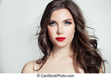 schöne , brünett, lockig, aufmachung, langes haar, frau, portrait., hintergrund, stilvoll, modell, weißes