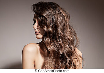 schöne , brünett, lockig, langer, hair., woman.