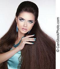 schöne , brünett, nails., gesunde, bea, langer, girl., manicured, hair.