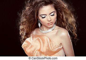schöne , brauner, brünett, schoenheit, lockig, auf., gesunde, machen, langer, girl., hair., modell, woman., hairstyle.