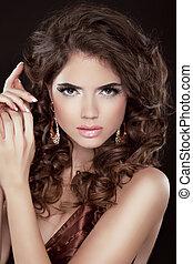 schöne , brauner, brünett, schoenheit, modisch, gesunde, bronziert, langer, girl., skin., hair., sexy, woman., dame, modell