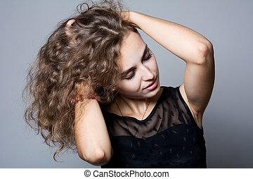 schöne, brauner, Haar, frau, Porträt