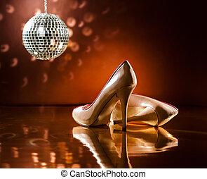 schöne , brauner, stilettos, tanzen boden