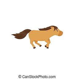 schöne , braunes pferd, pony, abbildung, vektor, hintergrund, weißes, springende