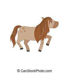 schöne , braunes pferd, pony, abbildung, vektor, hintergrund, weißes