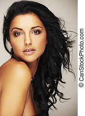 schöne , brunett, modell, in, studio, auf, licht,...