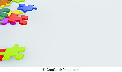 schöne , bunte, puzzlesteine, fallender , auf, der, tisch., kindheit, begriff, 3d, animation., grün, schirm, alpha, mask., 4k, ultra, hd, 3840x2160.