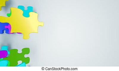 schöne , bunte, puzzlesteine, herunterfallen, auf, der, screen., kindheit, begriff, 3d, animation., nützlich, für, transitions., grün, schirm, alpha, mask., 4k, ultra, hd, 3840x2160.