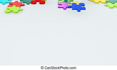 schöne , bunte, puzzlesteine, herunterfallen, auf, der, surface., kindheit, begriff, 3d, animation., grün, schirm, alpha, mask., 4k, ultra, hd, 3840x2160.
